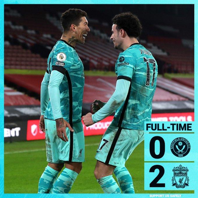 Hasil akhir Sheffield 0-2 Liverpool