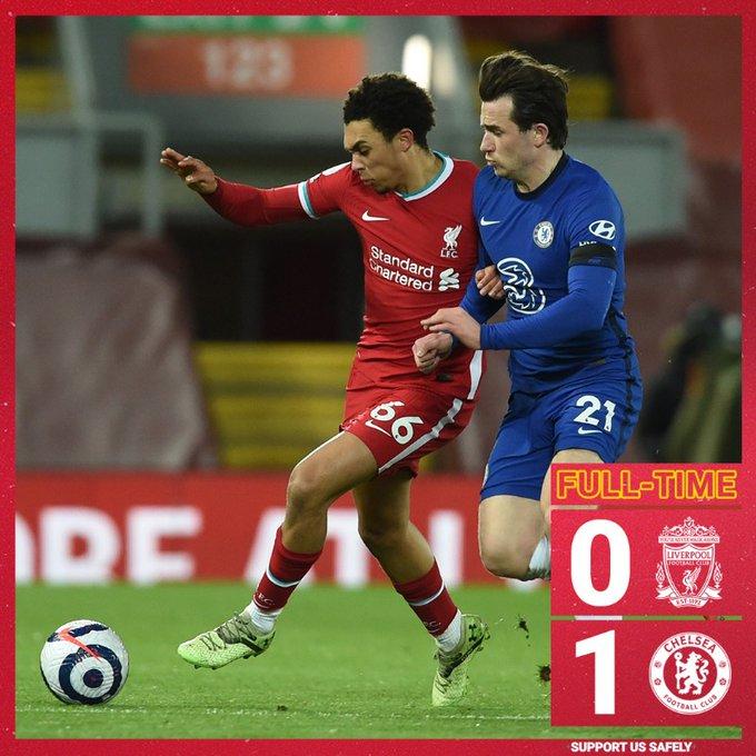 Hasil akhir Liverpool 0-1 Chelsea