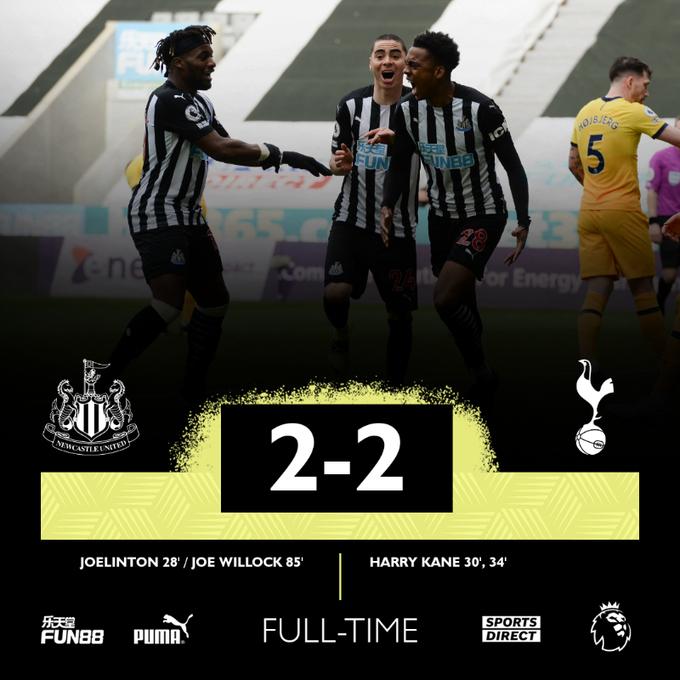 Hasil akhir Newcastle United 2-2 Tottenham Hotspur