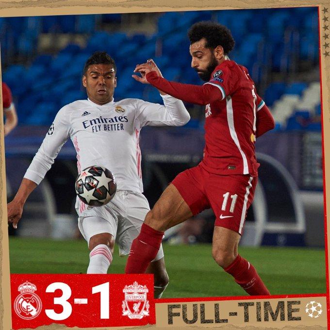 Skor akhir Real Madrid 3-1 Liverpool