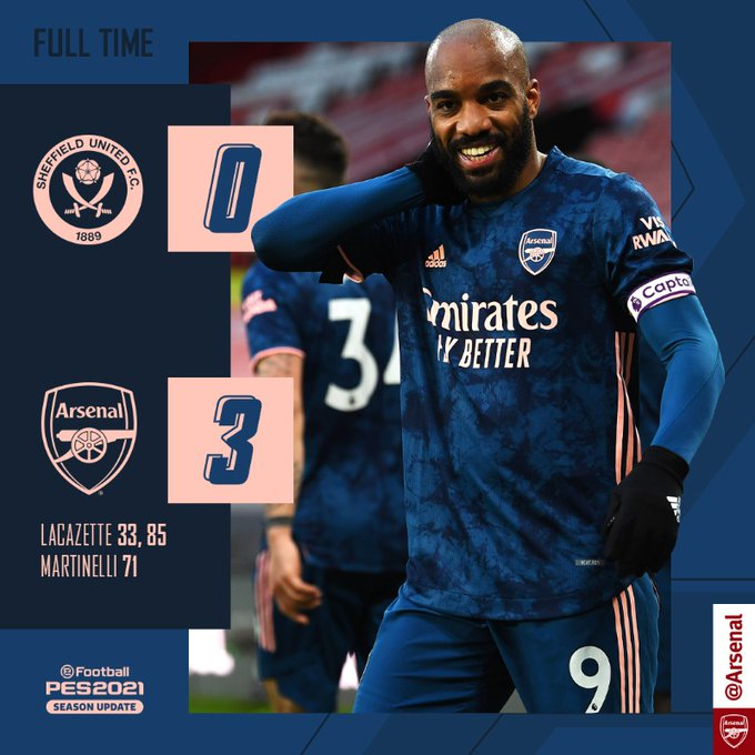 Skor akhir Sheffield Utd 0-3 Arsenal