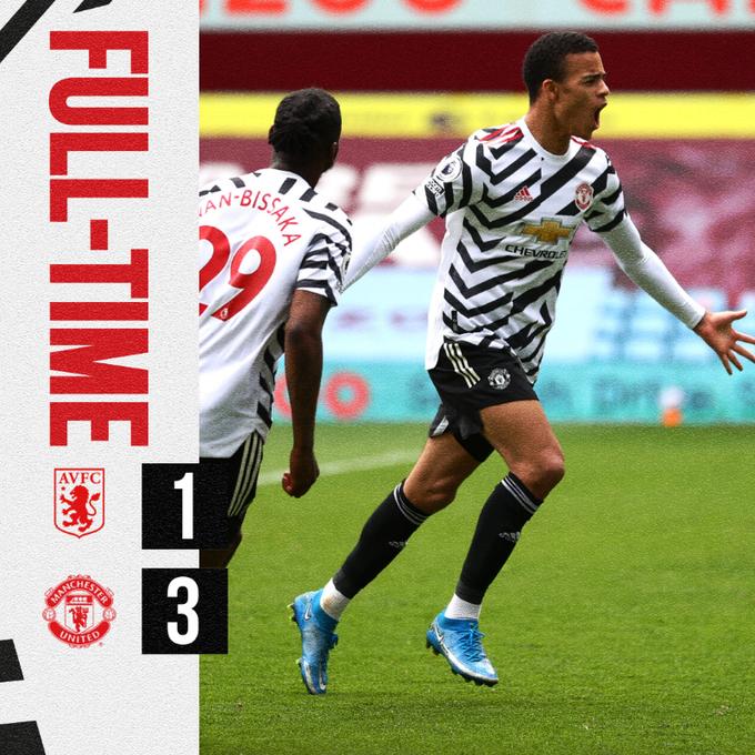 Hasil akhir Aston Villa 1-3 Manchester United
