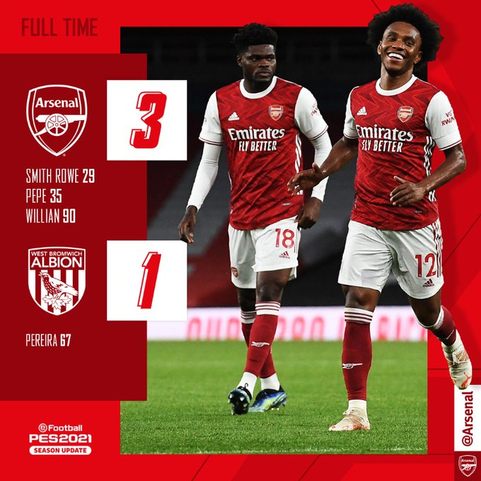 Hasil akhir Arsenal 3-1 West Bromwich Albion