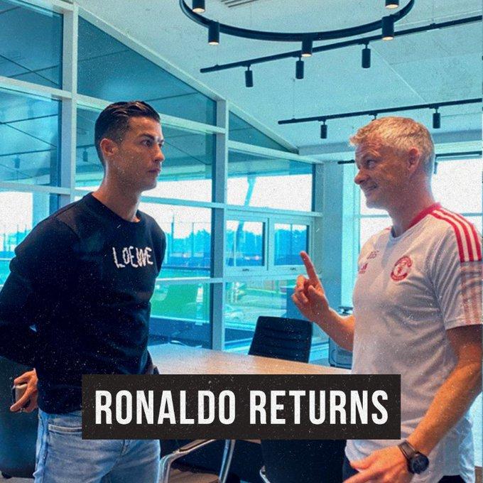 Cristiano Ronaldo bersama Pelatih Manchester United Ole Gunnar Solskjaer.