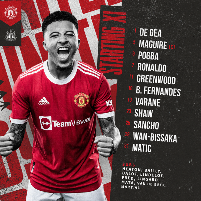 Ronaldo is key.. the official line-up for the Man United match against Newcastle