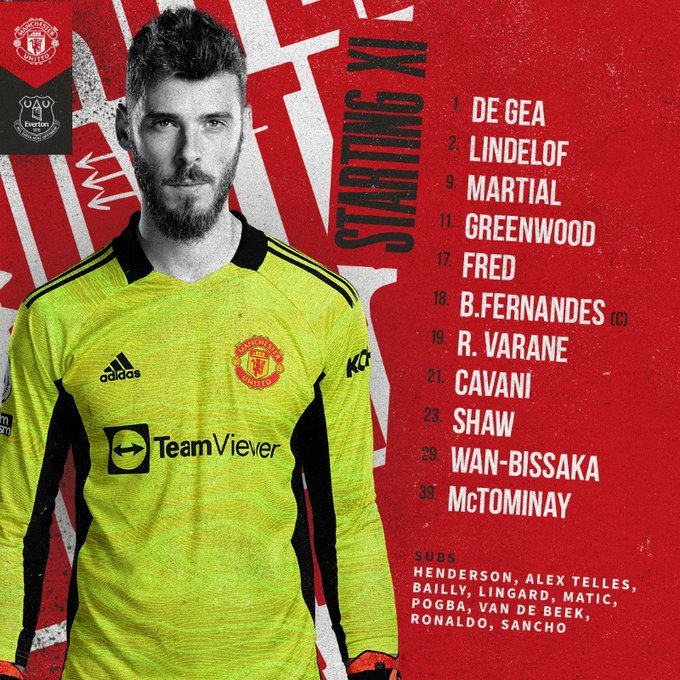 Ronaldo in reserve.. the official line-up for the Man United match against Everton