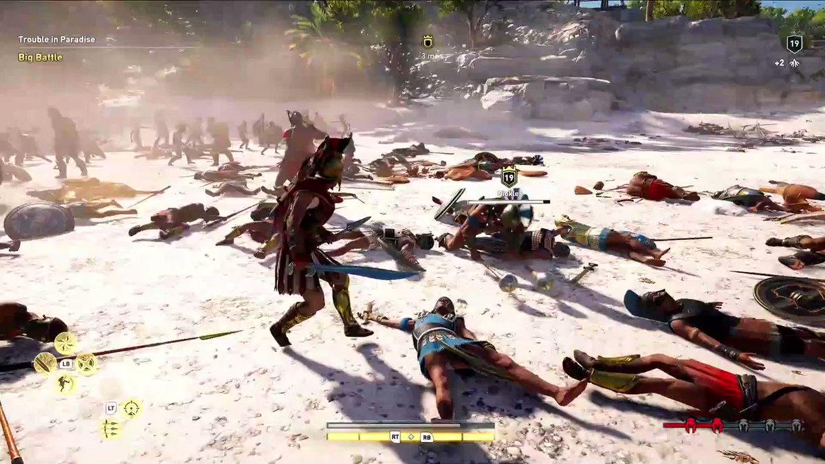 Brutal beach combat in Assassins Creed Odyssey. #UbiE3 #GameReady #E32018