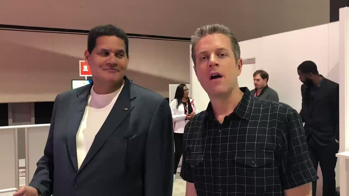 We both had crazy schedules this year, but in the last hour of @e3 2018, we made it happen: Geoff vs. Reggie in Mario Tennis Aces! 12 years after our first E3 tennis battle in Wii Sports.