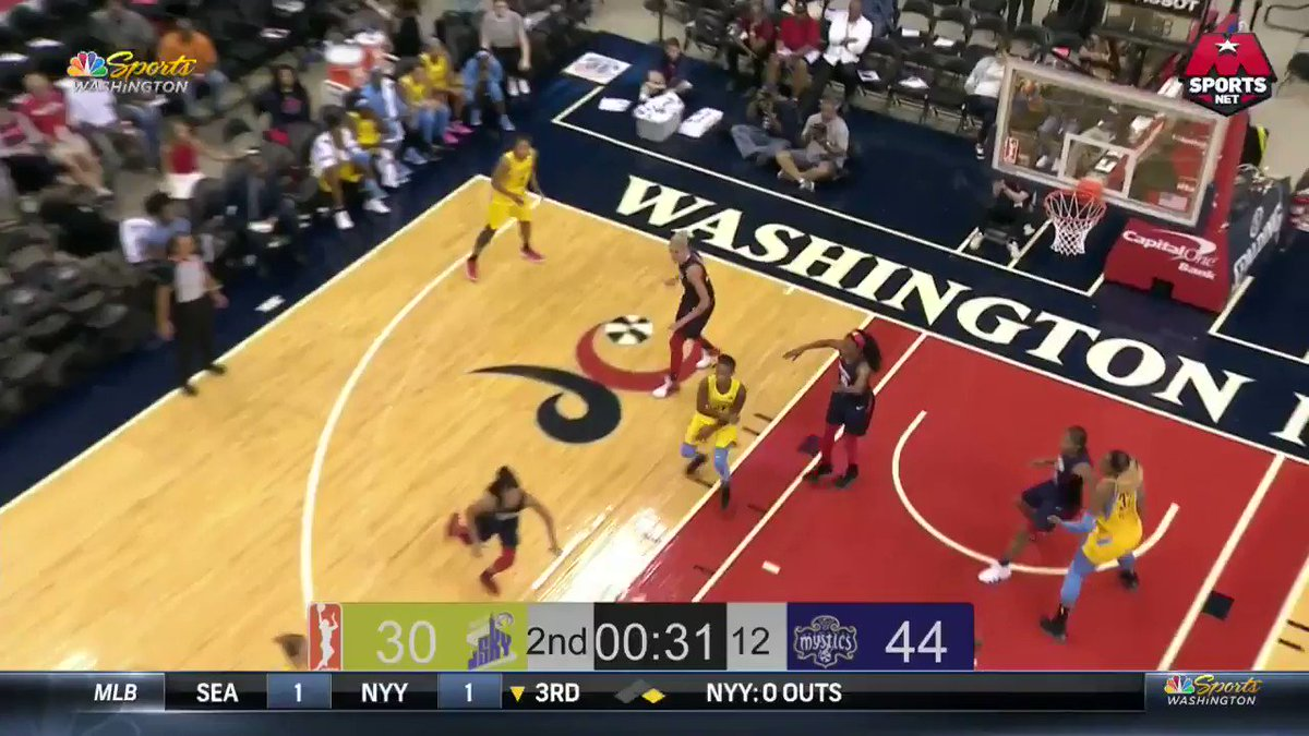 LaToya Sanders with the steal on one end and the shot on the other! #MysticsSky #WNBAVote
