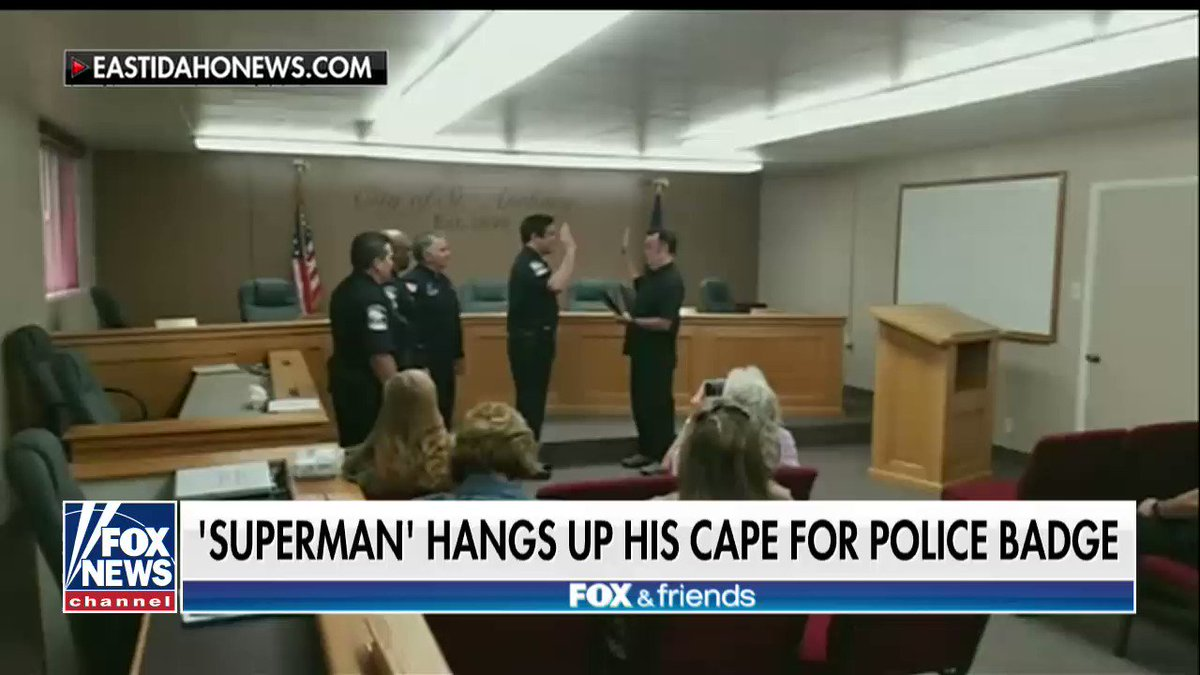 'Superman' @RealDeanCain hangs up his cape for police badge. https://t.co/EfXb1nXXoE
