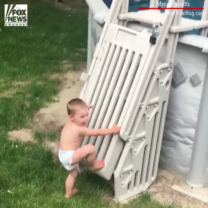 Child scales 'un-climbable' pool ladder in viral video https://t.co/hky2uzs76a https://t.co/xJdlJ7YrjT