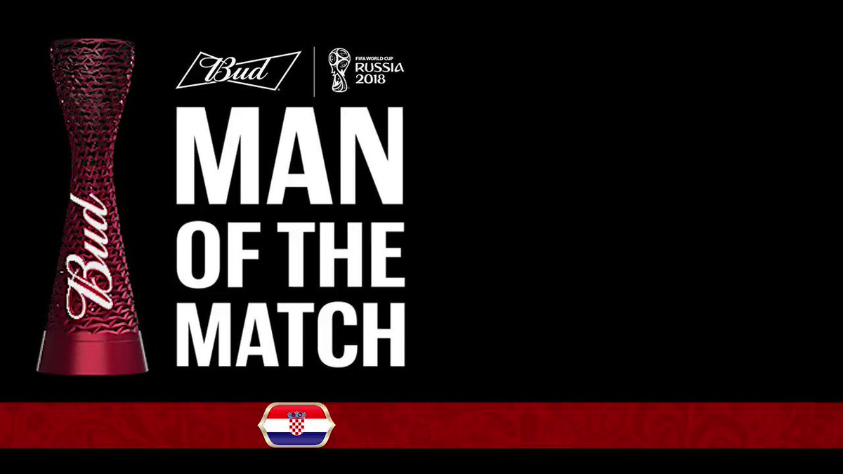 Félicitations Luka Modric, @Budweiser #ManoftheMatch de #ARGCRO ! #CRO #CM2018 https://t.co/5MPUbuBM2N