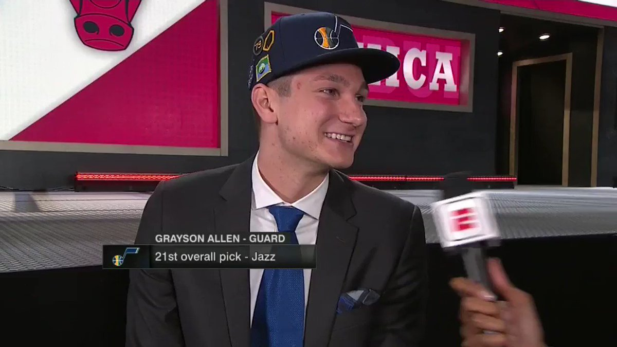 @spidadmitchell congratulates his new teammate @GraysonJAllen on getting drafted by the @utahjazz! #NBADraft https://t.co/Et61nSWiPX