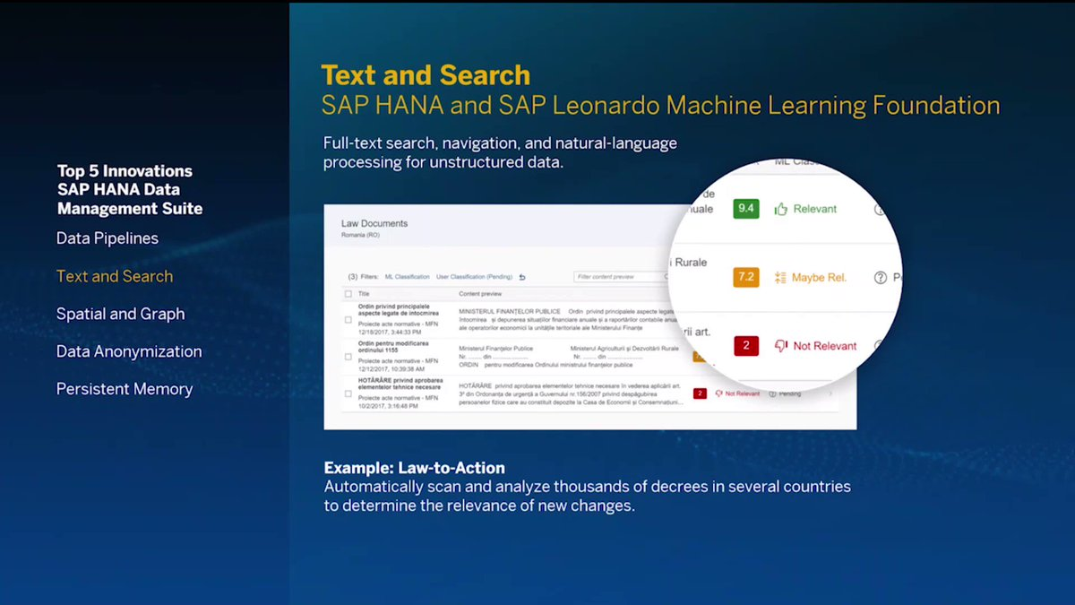 "As seen at #SAPPHIRENOW: Law-to-Action automatically scans and analyzes thousands of decrees in several countries to determine the relevance of new changes.Wondering who made ""Law-to-Action"" happen? https://t.co/H9eDHmR5ws"
