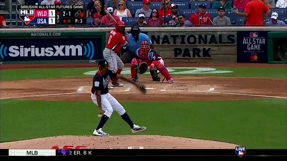 Woah! A 102-mph fastball comes in, @whitesox prospect Luis Basabe hits it out at 104mph... �� #FuturesGame https://t.co/xBwRzNmdmw