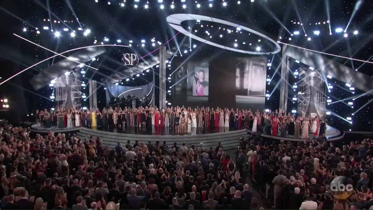 """To all the survivors out there, don't let anyone rewrite your story. Your truth does matter. You matter. And you are not alone.""  Tonight, Aly Raisman and her sister survivors brought the #ESPYS audience to their feet."