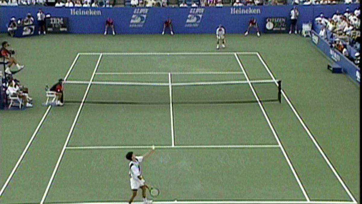 #USOpen Throwback: Edberg 🆚 Henman playing a great rally from back in the day... 🎥: 1996