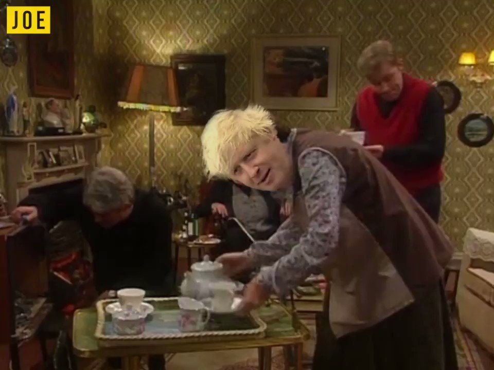 Father Ted and Father Jack offer more appropriate responses to Boris Johnson's offer of a cup of tea...