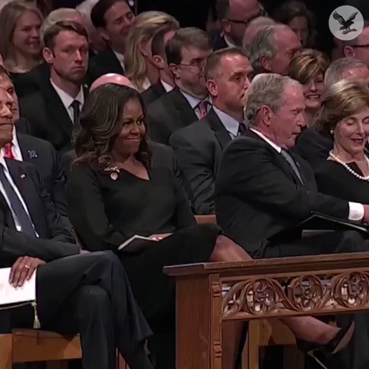 John Mccain Funeral: George W. Bush Sneaks A Piece Of Candy To Michelle Obama