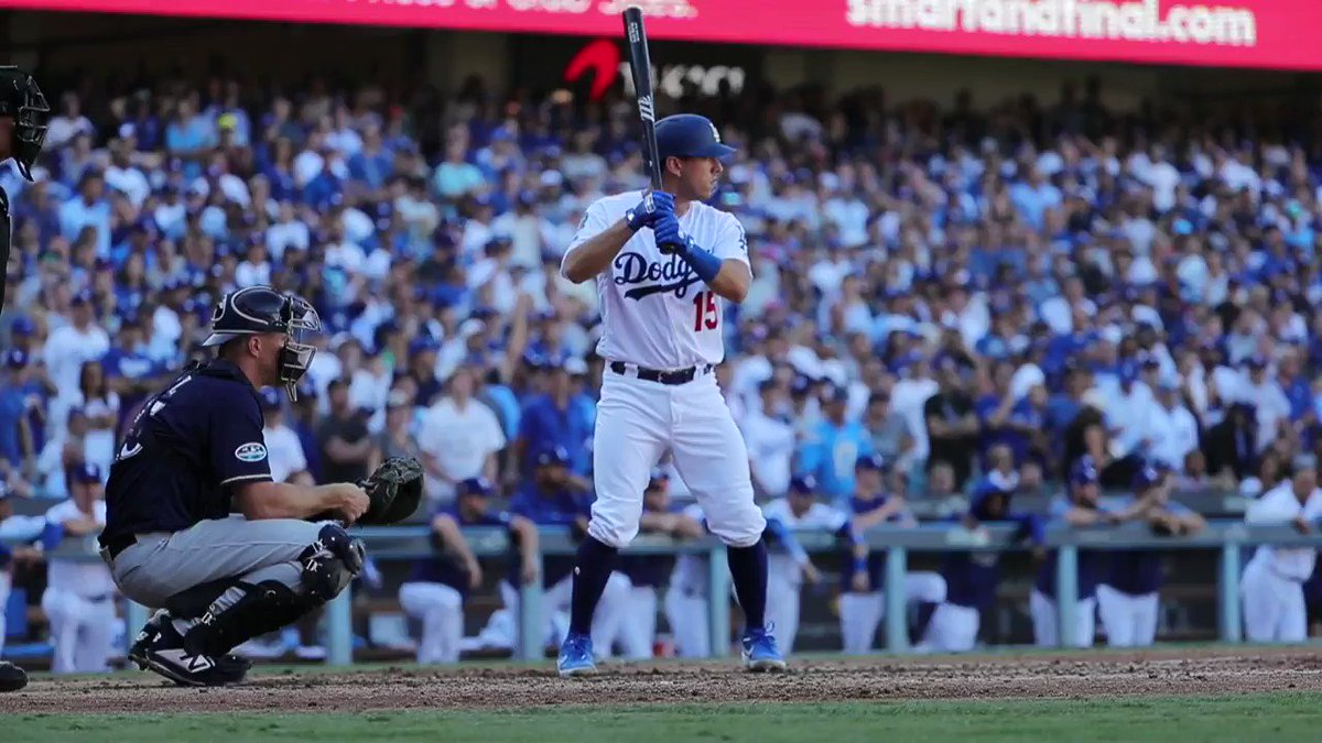 Austin Barnes with a double whammy.  Tie game and @ClaytonKersh22 gets to stay in. #NLCS https://t.co/1fmwjBR80G