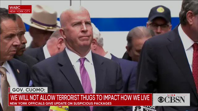 """NYC Mayor Bill de Blasio to public officials: """"Don't encourage hatred, don't encourage attacks on media. You can disagree, but you have to show respect for people and air your disagreements peacefully."""" https://cbsn.ws/2EIlpeQ"""