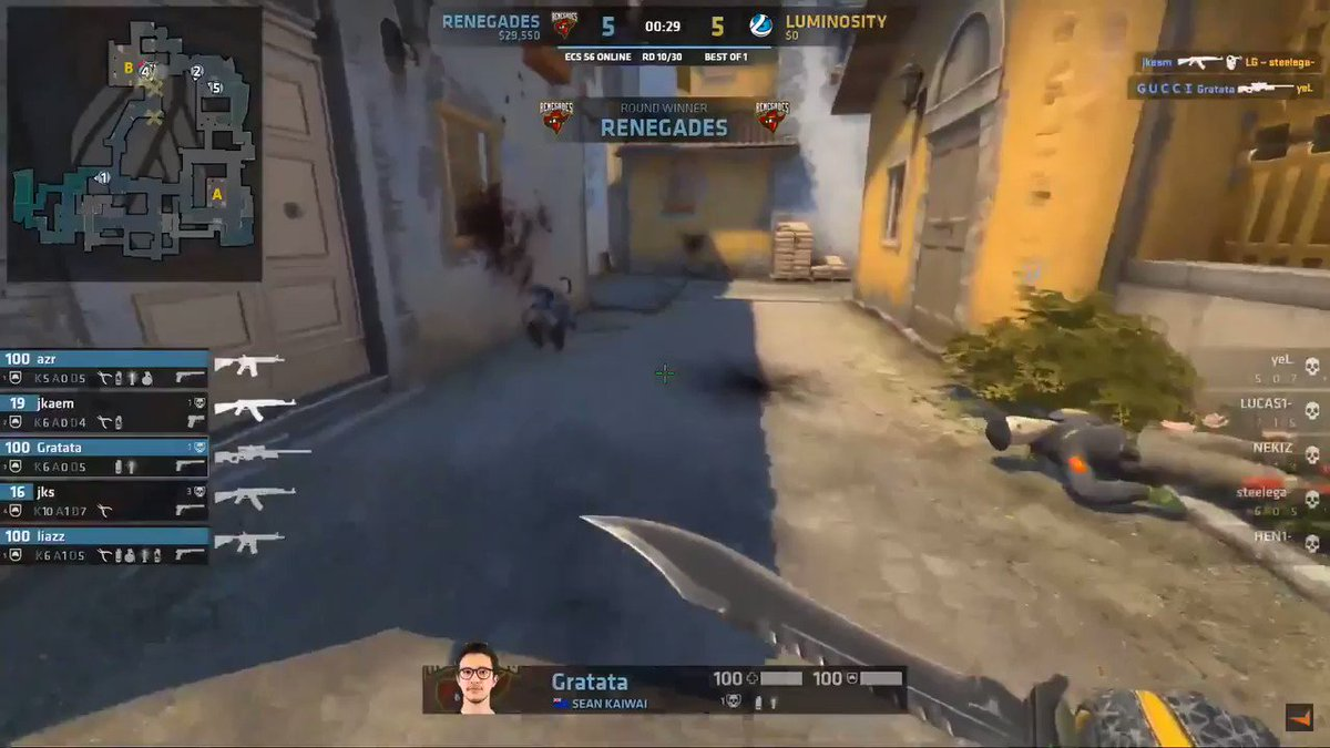 5v1 on the site? No problem for @RNGjks!  @renegades 5 - 5 @Luminosity #ECS6  Watch LIVE on 🔴 http://youtube.com/faceit