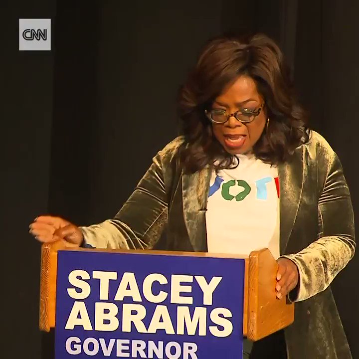 "While campaigning for Stacey Abrams, Oprah calls out nonvoters, saying: ""For anybody here who has an ancestor who didn't have the right to vote, and you are choosing not to vote... you are dishonoring your family."" https://cnn.it/2SDvBrZ"