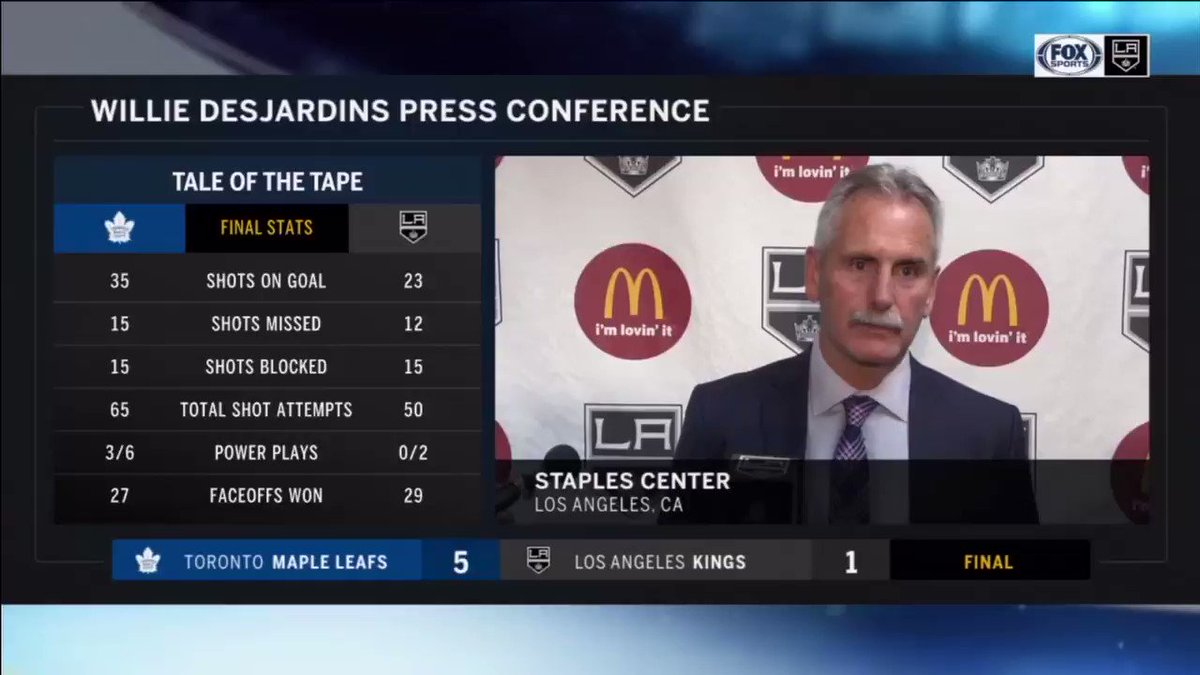 Hear from Head Coach Willie Desjardins after the LA Kings tough loss against Toronto. https://t.co/YZSYc565sX
