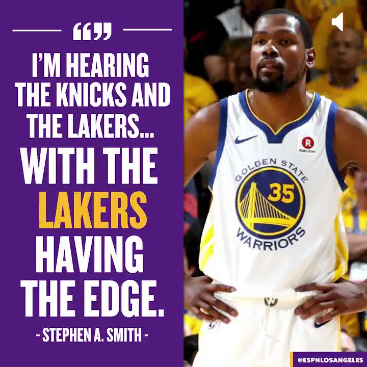 Stephen A. Smith claims Durant leaning towards Lakers
