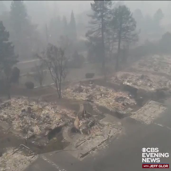 WATCH: Drone footage captures the devastating aftermath of the #CampFire in a Paradise, Calif. neighborhood, showing blocks and blocks of burned foundations and debris. The fire destroyed nearly 9,000 homes -- and 130 people are still unaccounted for. https://cbsn.ws/2QH3HK9