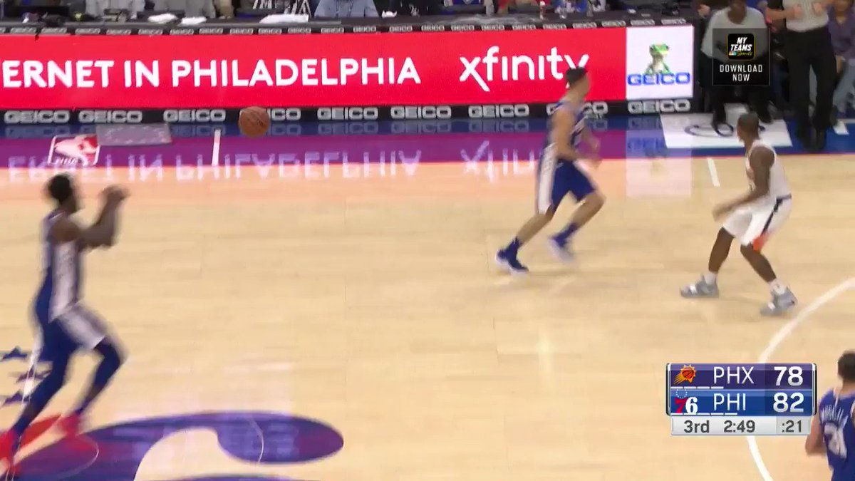 Embiid throws it down off the screen-and-roll! He's up to 28 PTS in Q3.  #HereTheyCome 84 #TimeToRise 78  ��: @NBATV https://t.co/M2OGICc0zl