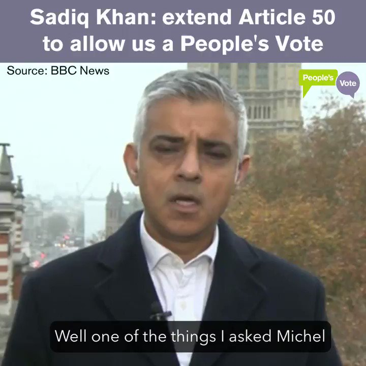 WATCH: @SadiqKhan on BBC News this morning, arguing that we should extend Article 50 so we can have a #PeoplesVote on the Gov's dodgy Brexit deal. Please RT: