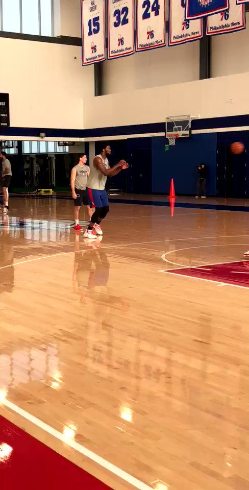 Fresh off a W last night, Joel Embiid gets shots up at #SixersAllAccess.