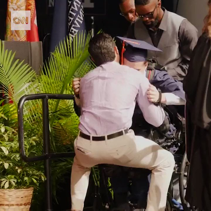 Despite having suffered a debilitating spinal injury in 2015, Aldo Amenta graduated from Florida International University on Sunday, walking across the stage to accept his diploma https://cnn.it/2SI4ye9