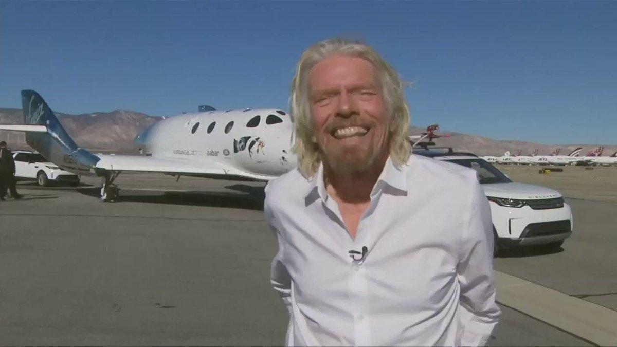 Billionaire Richard Branson celebrates Virgin's rocket plane reaching space and its safe return https://reut.rs/2zXvgZn