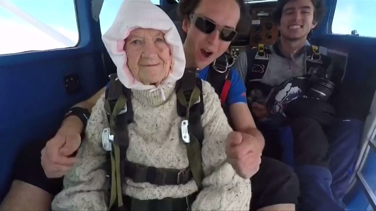 Australian granny goes skydiving, jumps out of a plane at 14,000 feet. See more from this week's ICYMI playlist https://reut.tv/2OPPbhD  via @ReutersTV