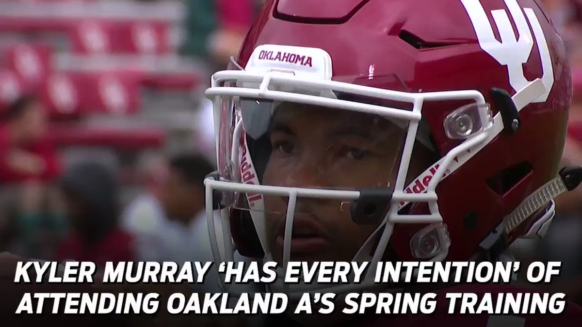"""""""All I know is that Kyler has a tremendous opportunity to be a great baseball player. He knows that.'  According to Scott Boras, @OU_Football's Kyler Murray has 'every intention' of attending Oakland A's spring training."""