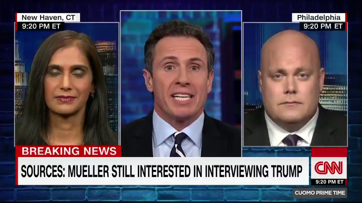 """""""Written answers are not going to cut it. You need to hear from the horse's mouth."""" @AshaRangappa_ on reports Mueller continues to be interested in interviewing Trump. """"No lawyer worth their salt is going to allow him to do that,"""" responds @jim_schultz.  https://cnn.it/2UK0xaO"""