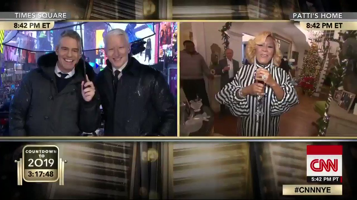 American singer @MsPattiPatti is cooking up a feast for her family at home while @andersoncooper and @Andy Cohen snack on her famous sweet potato pie in rainy Times Square. #CNNNYE http://CNN.it/go