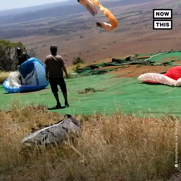 This paraglider was swept away by a sudden dust devil