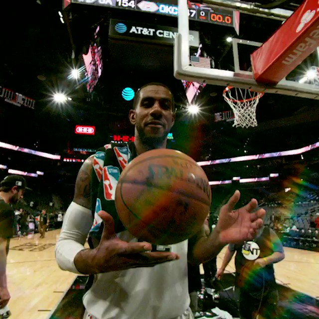 Game ball in hand, LaMarcus walks off after his career-high 56-point night! #PhantomCam #GoSpursGo https://t.co/s4aSqJo4zx