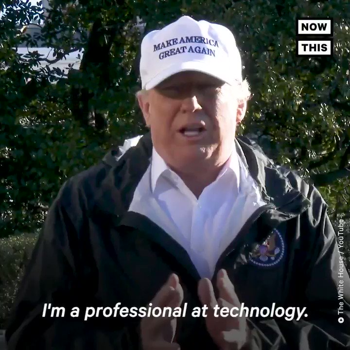 Trump: 'I'm a professional at technology' Also Trump: *can't work a phone*