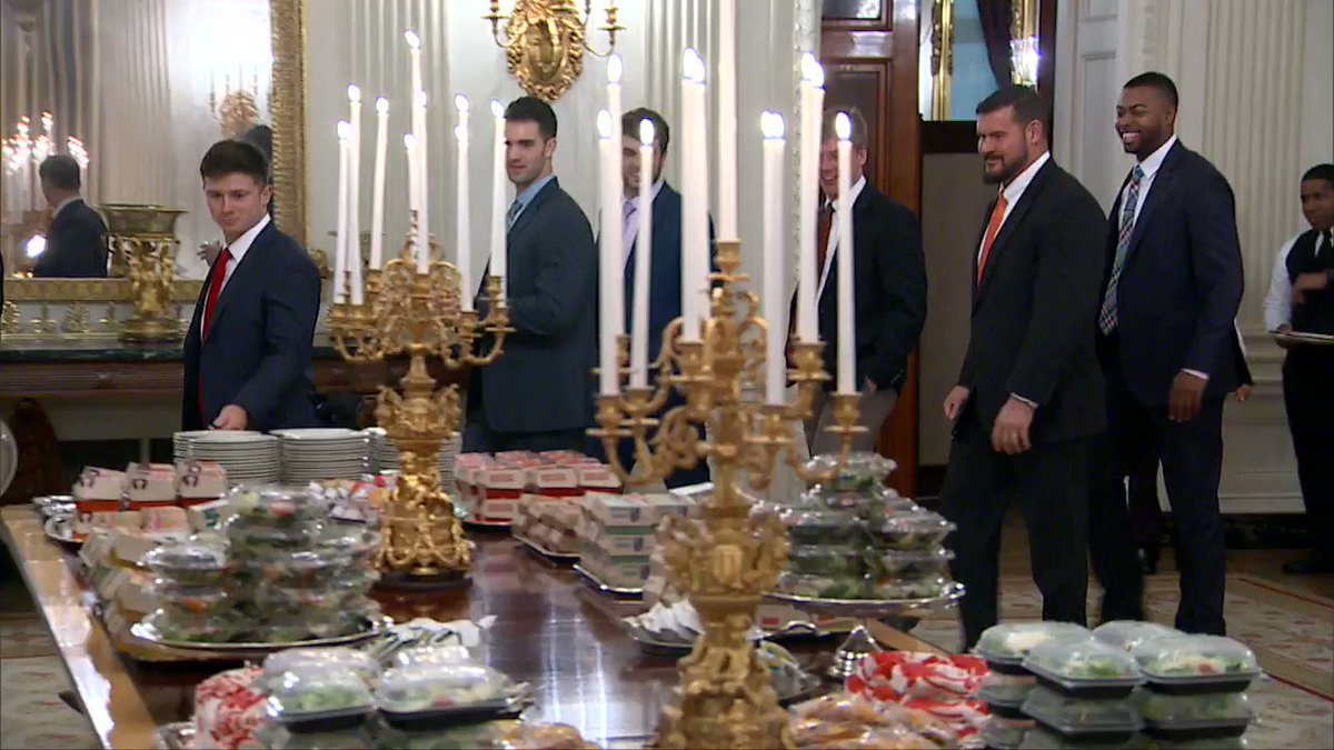 Trump laid out a White House feast fit for a government shutdown: silver platters heaped with McDonald's Quarter Pounders and burgers from Wendy's