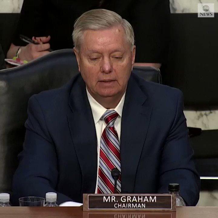Image for the Tweet beginning: Sen. Lindsey Graham interrupts AG