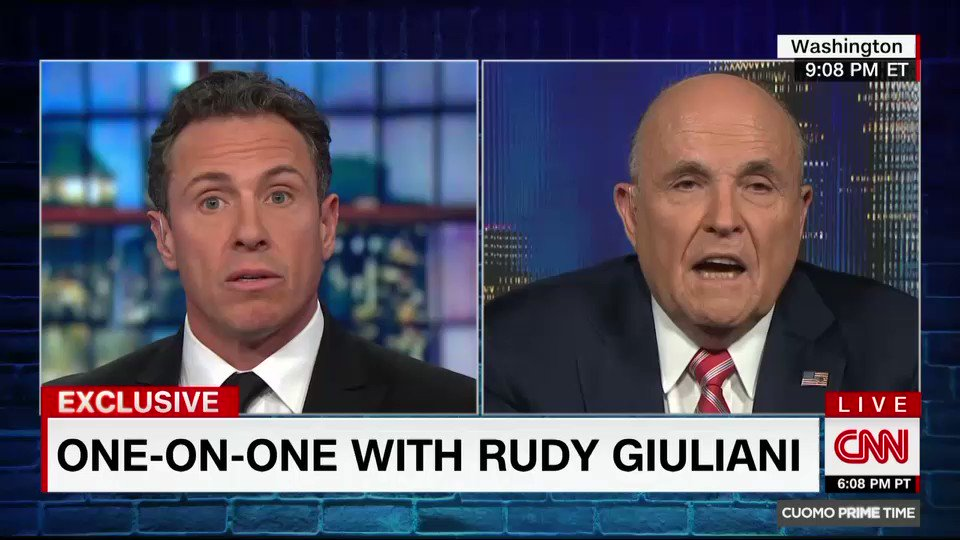 """I never said there was no collusion between the campaign or between people in the campaign... I have not. I said the President of the United States,"" Pres. Trump's attorney @RudyGiuliani tells @ChrisCuomo https://cnn.it/2FwzM5o"