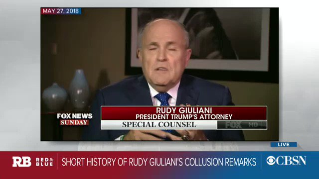 """Giuliani: """"I never said there was no collusion"""" between Trump campaign and Russia.   Here is a short history of Rudy Guiliani's collusion remarks. https://cbsn.ws/2MfCblp"""