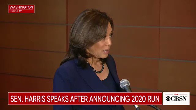 """Harris: """"[POTUS] is now holding the American people hostage over a vanity project that he calls a wall, while 800K people are trying to figure out how they're going to pay their rent, how they're going to pay their mortgage...Those folks don't want a wall, they want a paycheck."""""""
