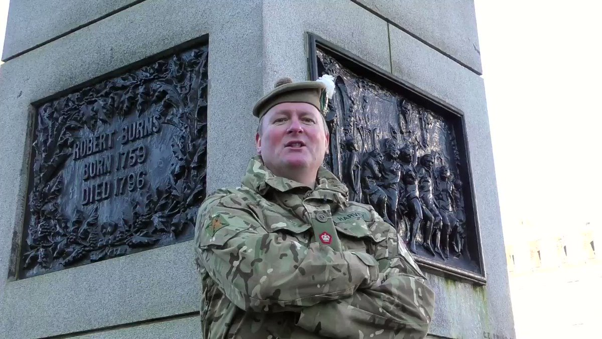 In celebration of Burns Night, Major Davey Harvey, Head of Cadet Training Team, HQ 51 Bde reads The Star O' Robbie Burns at his memorial in George Square in Glasgow. Best enjoyed with the sound on.