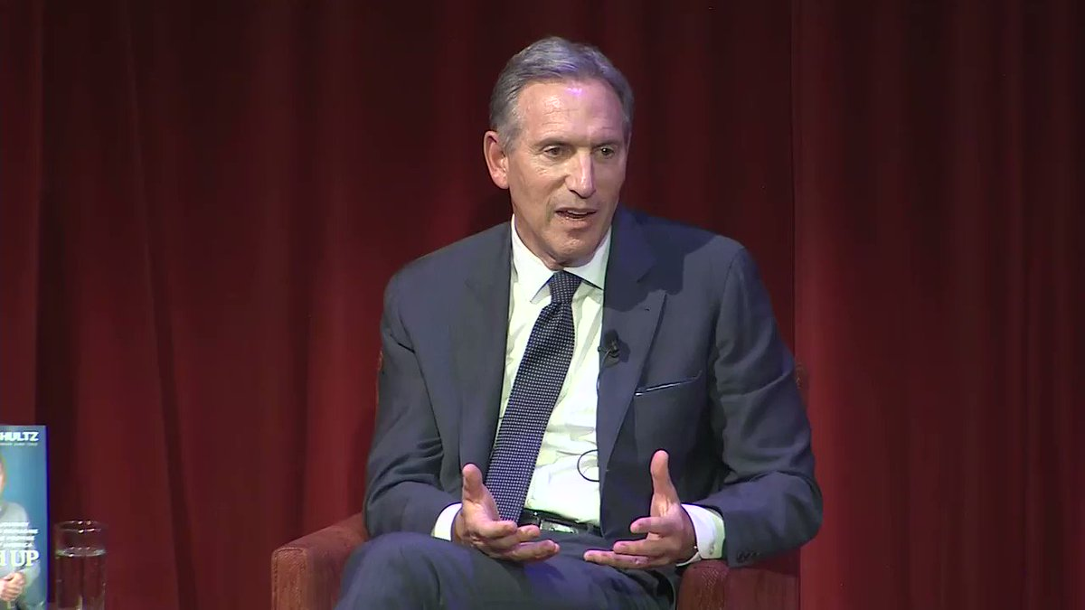 "Howard Schultz: ""We shouldn't get to a place where there are people yelling from the rafters that because you have been successful, you are a bad person and we're going to be punitive to you. That's, to me, the antithesis of the spirit of the country."""