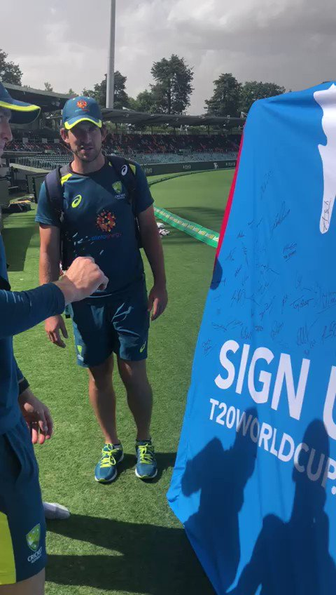 The #BigShirt is building the signatures in search of a world record with Australian Test Players @marnus3cricket, @joeburns441 and Kurtis Patterson the latest to sign-up to support the @ICC Women's #T20WorldCup